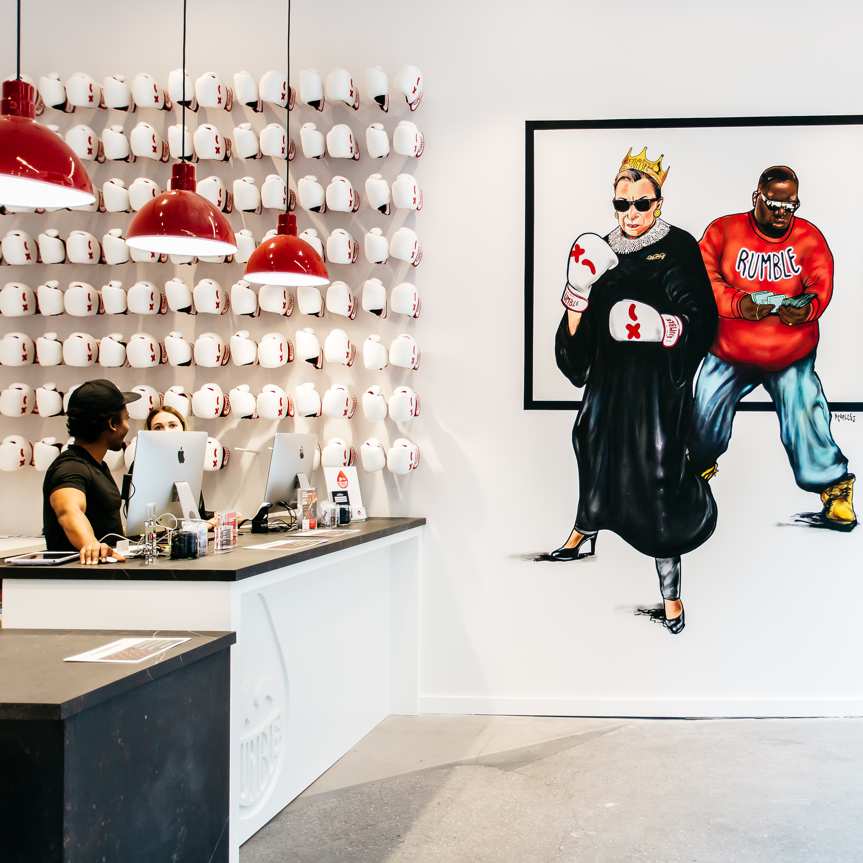 Rumble customizes each studio to the location, and the D.C. studio not only has an epic Abe Lincoln in boxing gloves statue, but it also has a Notorious RBG mural.{ }(Image: Courtesy Rumble)