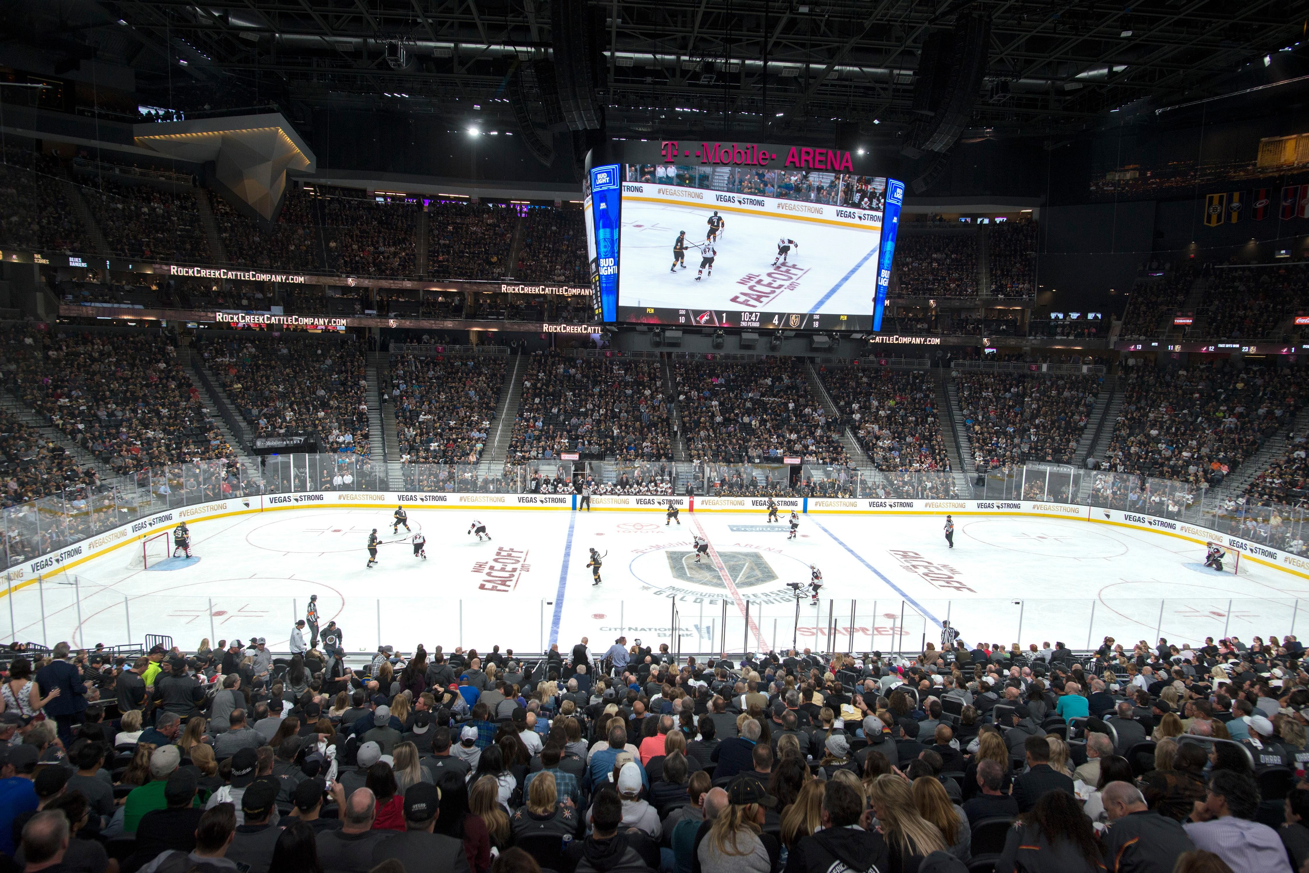 The Vegas Golden Knights take on the Arizona Coyotes during the Knights home opener Tuesday, Oct. 10, 2017, at the T-Mobile Arena. The Knights won 5-2 to extend their winning streak to 3-0. CREDIT: Sam Morris/Las Vegas News Bureau