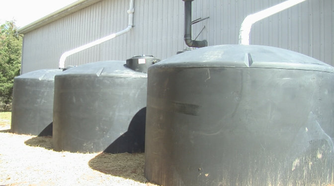 New water tanks will collect rainwater from one of Huddleston's volunteer fire departments off of Dundee Road. (Photo by: Priscilla Kaiser/WSET)