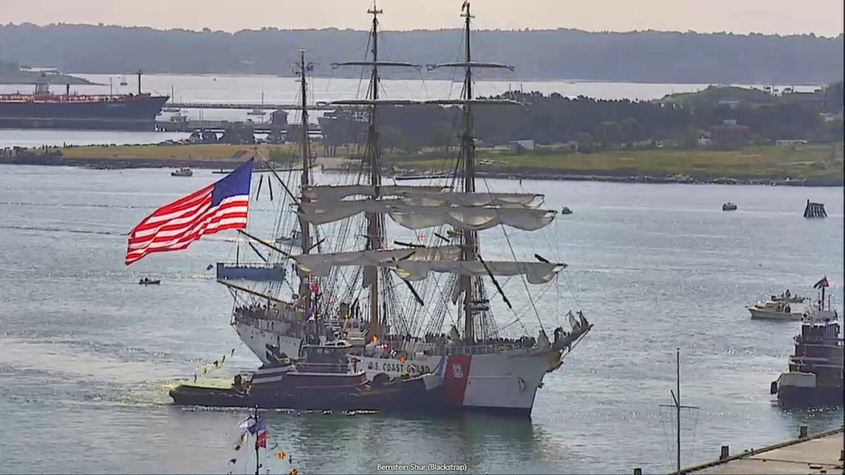 The U.S. Coast Guard Eagle and the Oliver Hazard Perry are in Portland Harbor for Tall Ships Portland. (WGME)