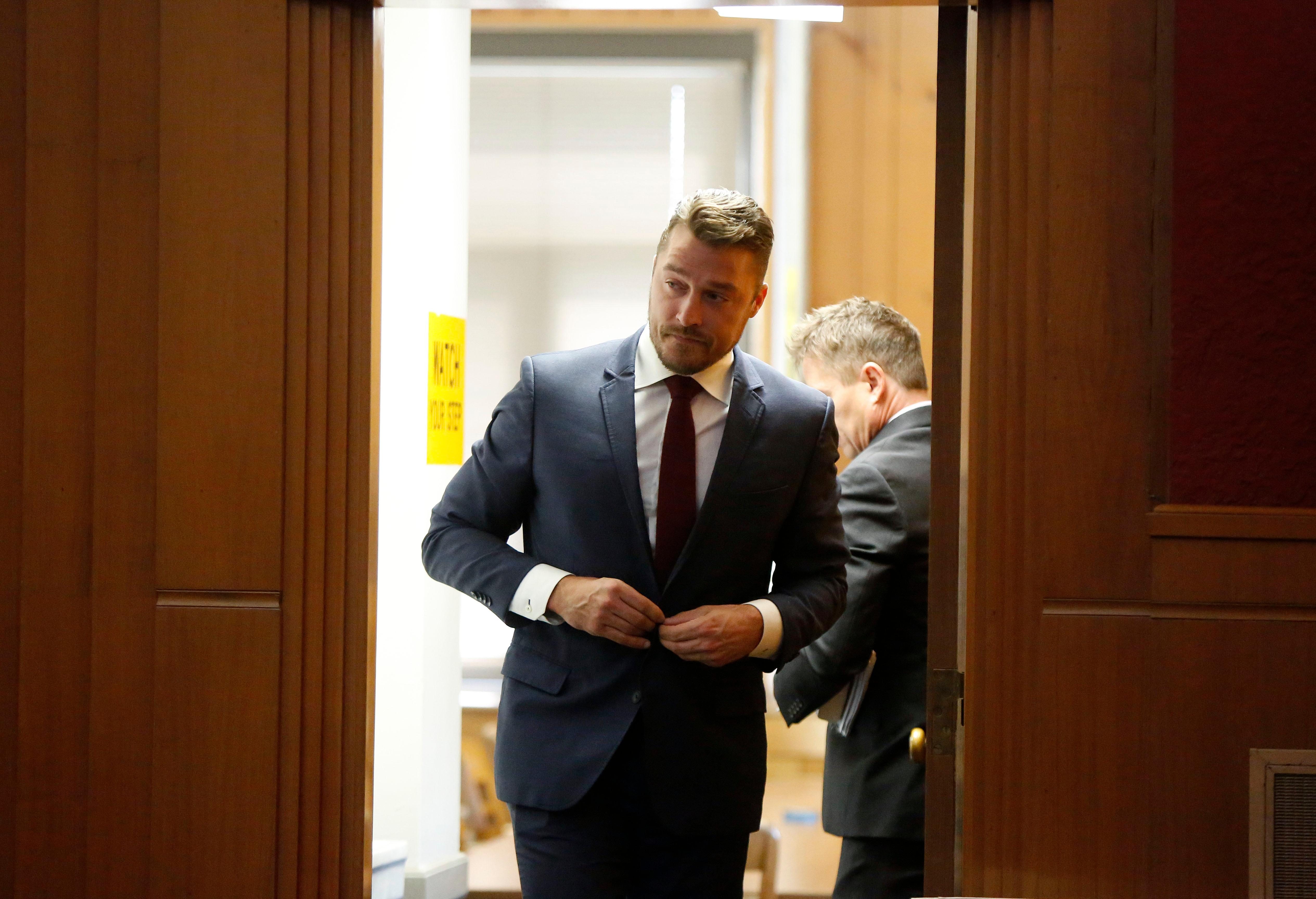 Chris Soules appears for a hearing in Buchanan County District Court Thursday, Sept. 14, 2017, in Independence, Iowa. Reality TV star Soules is charged with leaving the scene in a fatal April crash near Aurora, Iowa. (MATTHEW PUTNEY, The Courier /POOL)