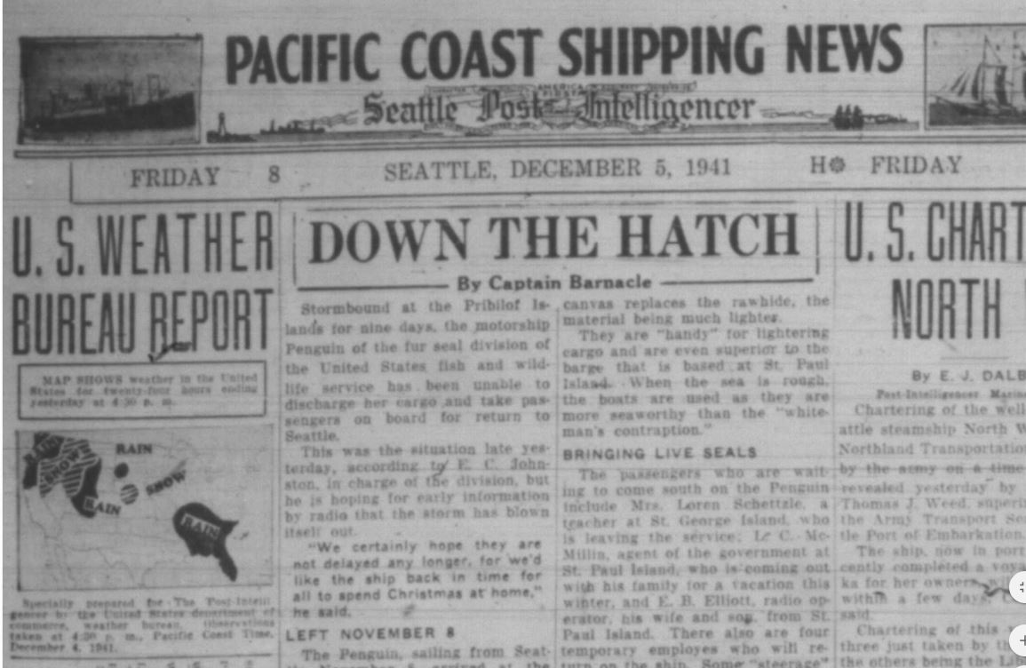 The weather forecast as it appeared in the Seattle Post-Intelligencer on Dec. 5, 1941 (Photo courtesy, SeattleP-I via Seattle Public Library)