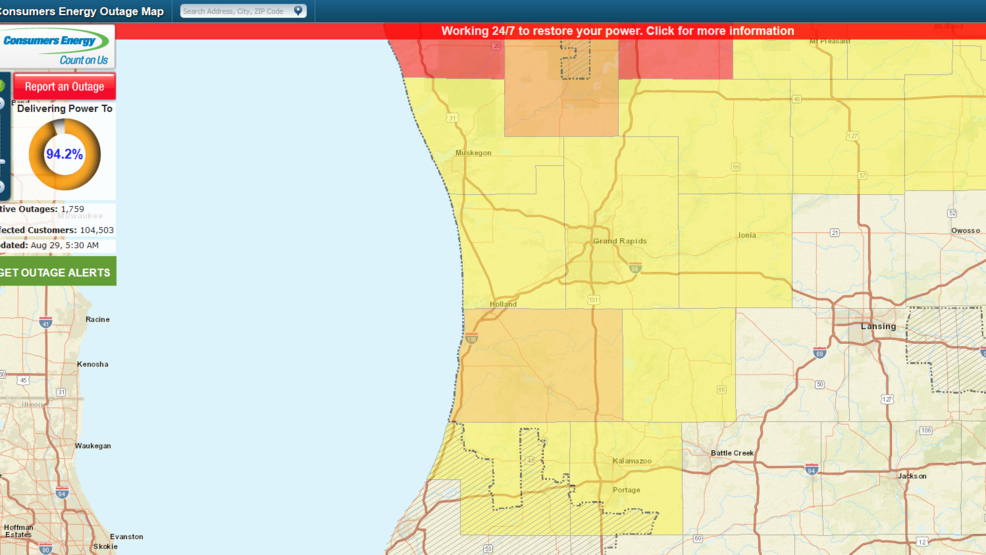 Power Outage Map Grand Rapids.Severe Storms Knock Out Power To More Than 100 000 Michigan Wwmtcw