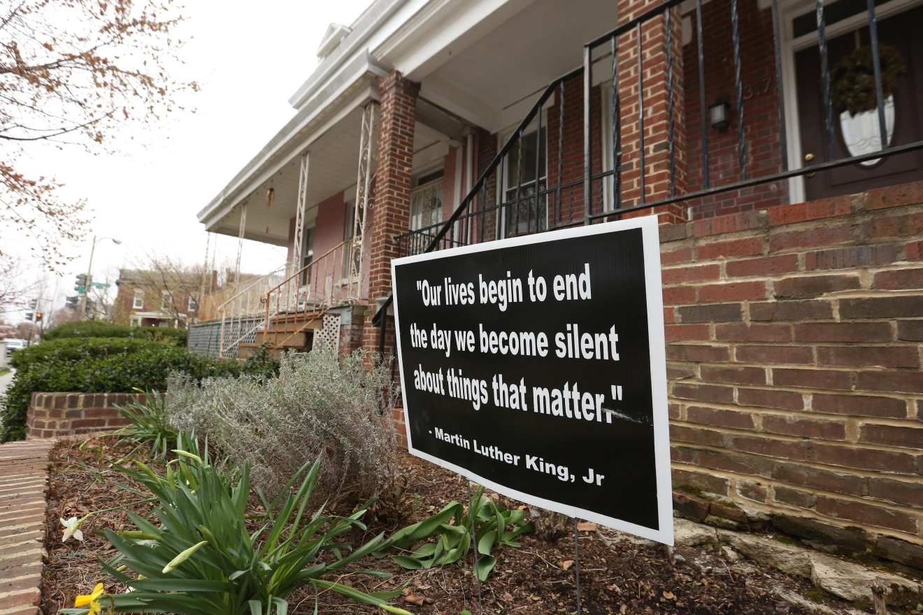 The current political climate is divisive to say the least, but residents of Capitol Hill are using their proximity to congress to spread messages of tolerance and hope. These are some of our favorite lawn signs. (Amanda Andrade-Rhoades/DC Refined)