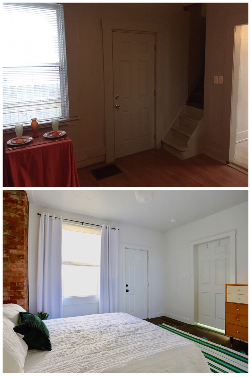 Before/after of the kitchen-turned-bedroom / Image courtesy of Nicole Nichols // Published: 1.8.19