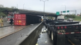 1 dead as semi truck smashes I-5 Jersey barrier in Tacoma