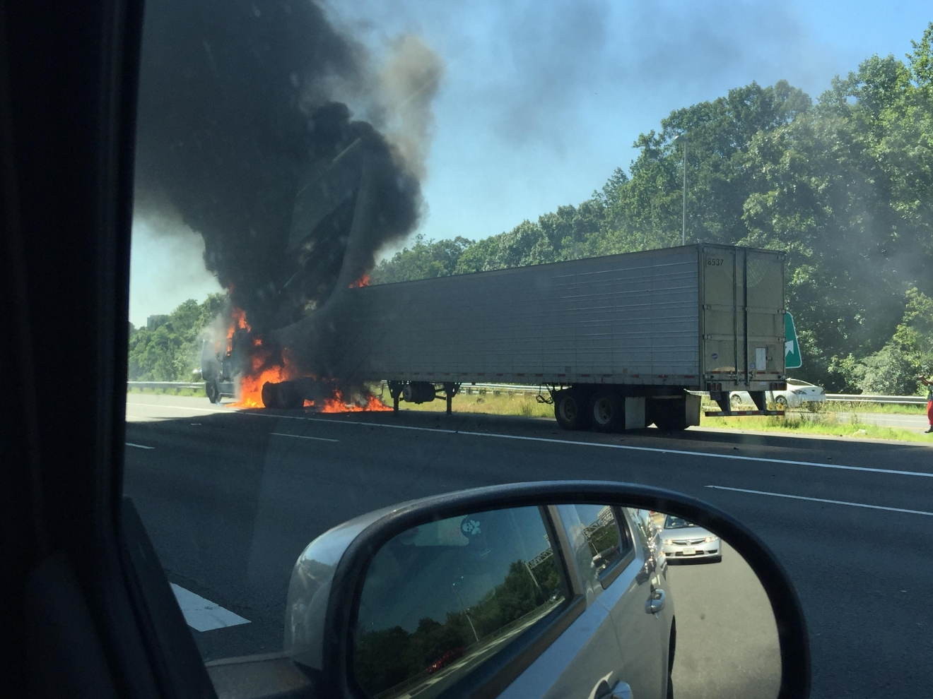 photos truck catches fire on i causing major traffic delays semi truck on fire on rt 66 at mile marker 58 7 photos