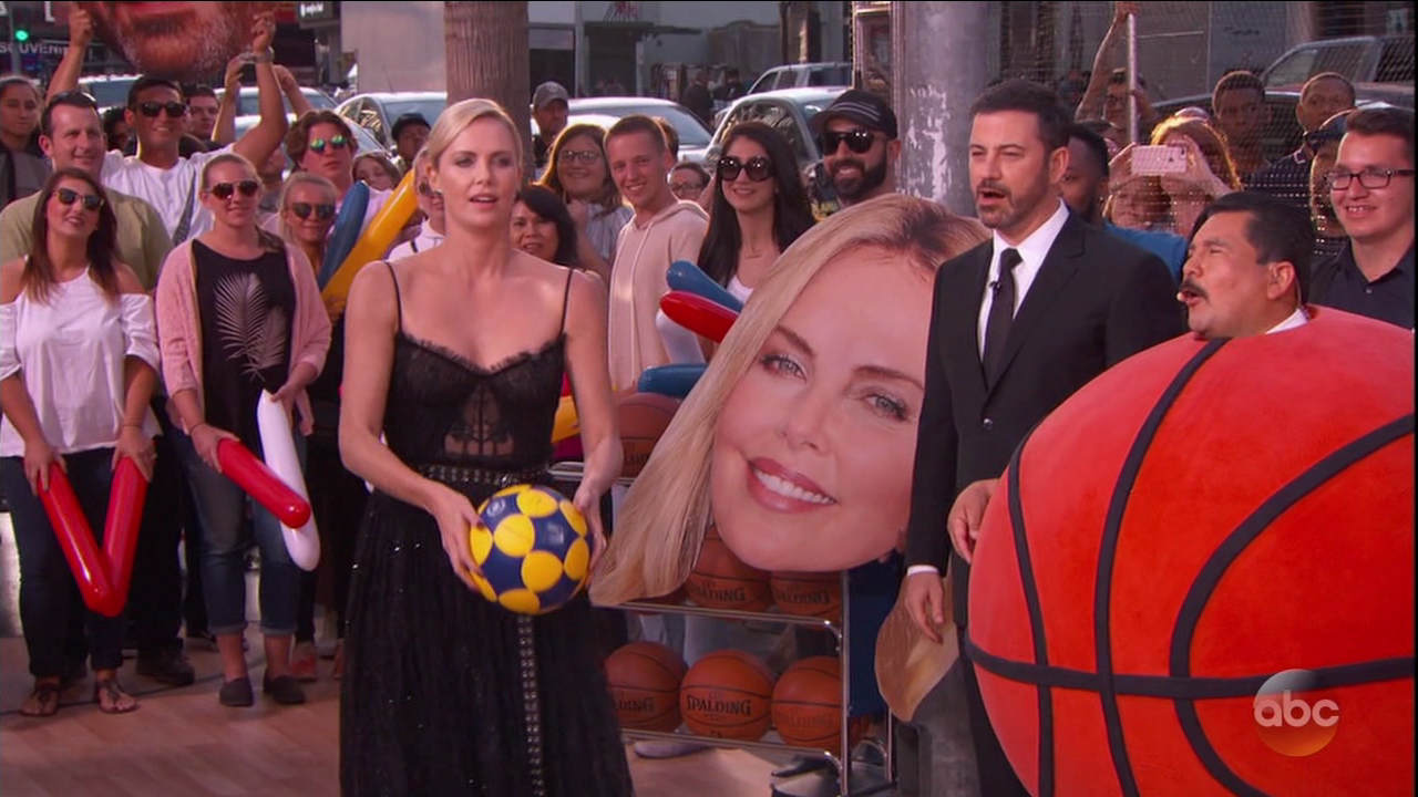 Charlize Theron during an appearance on ABC's 'Jimmy Kimmel Live!' Charlize joins Jimmy on game night and shoots a 3-pointer to win Kevin Durant sneakers for the audience.  Featuring: Charlize Theron Where: United States When: 12 Jun 2017 Credit: Supplied by WENN.com