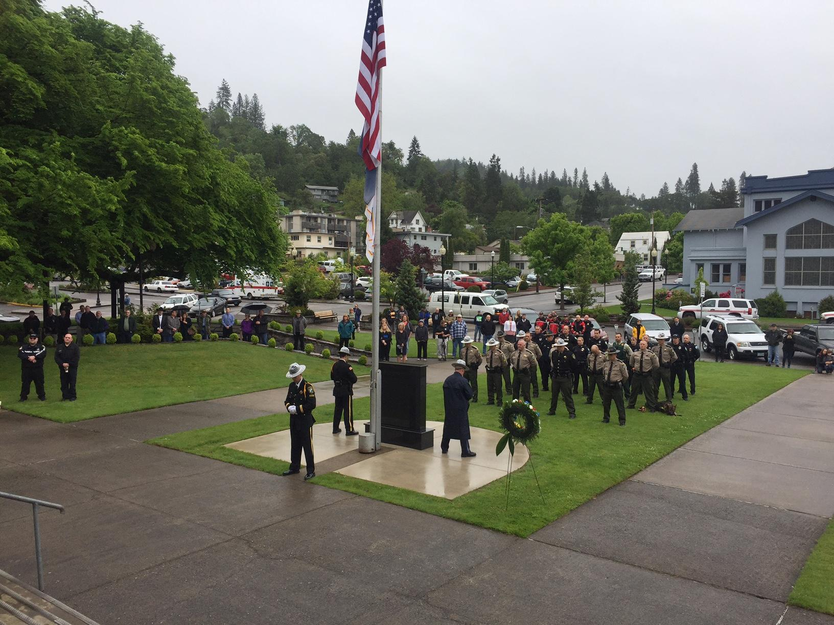 The Roseburg community and Douglas County law enforcement paid tribute Tuesday to officers killed in the line of duty. (SBG)