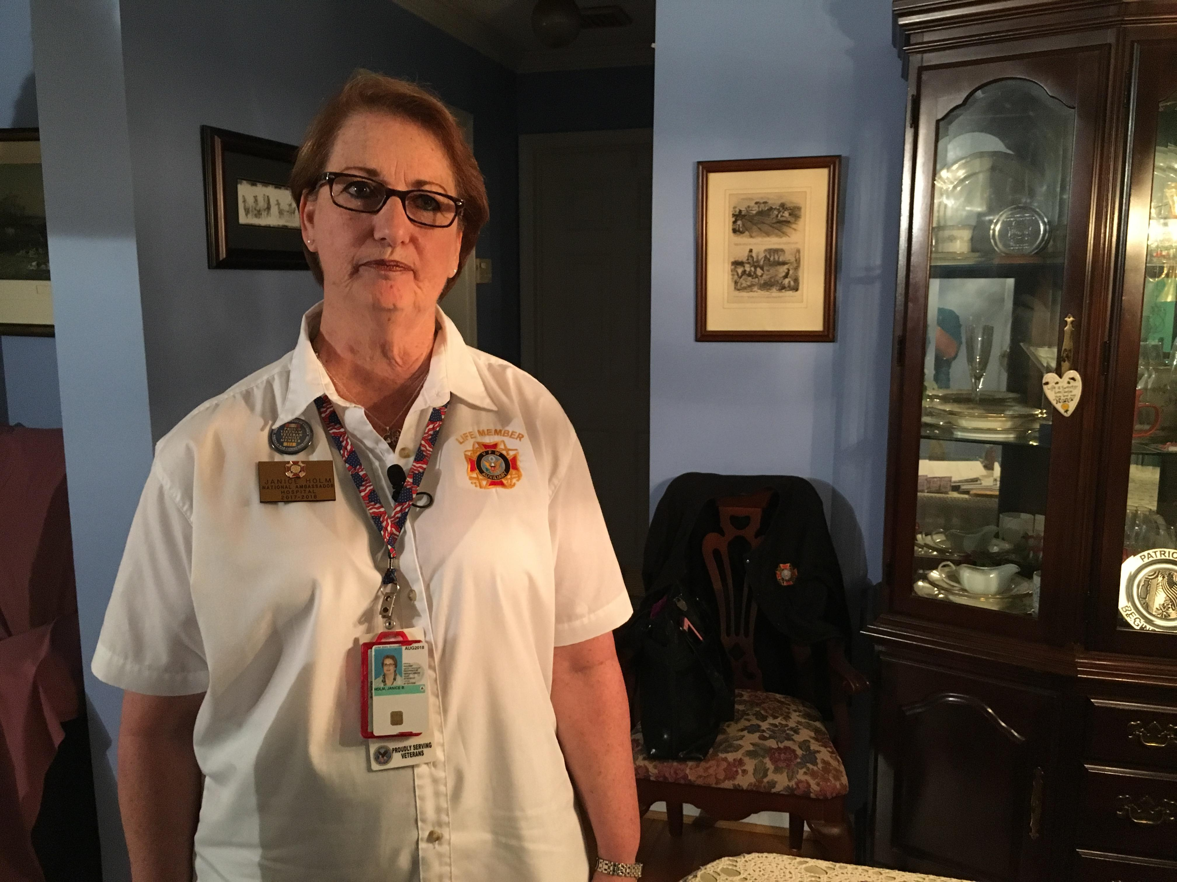 Janice Holm's a member of a number of veteran support organizations because her husband David is a Navy veteran. He has Stage 4 bone cancer. (Photo credit: WLOS staff)