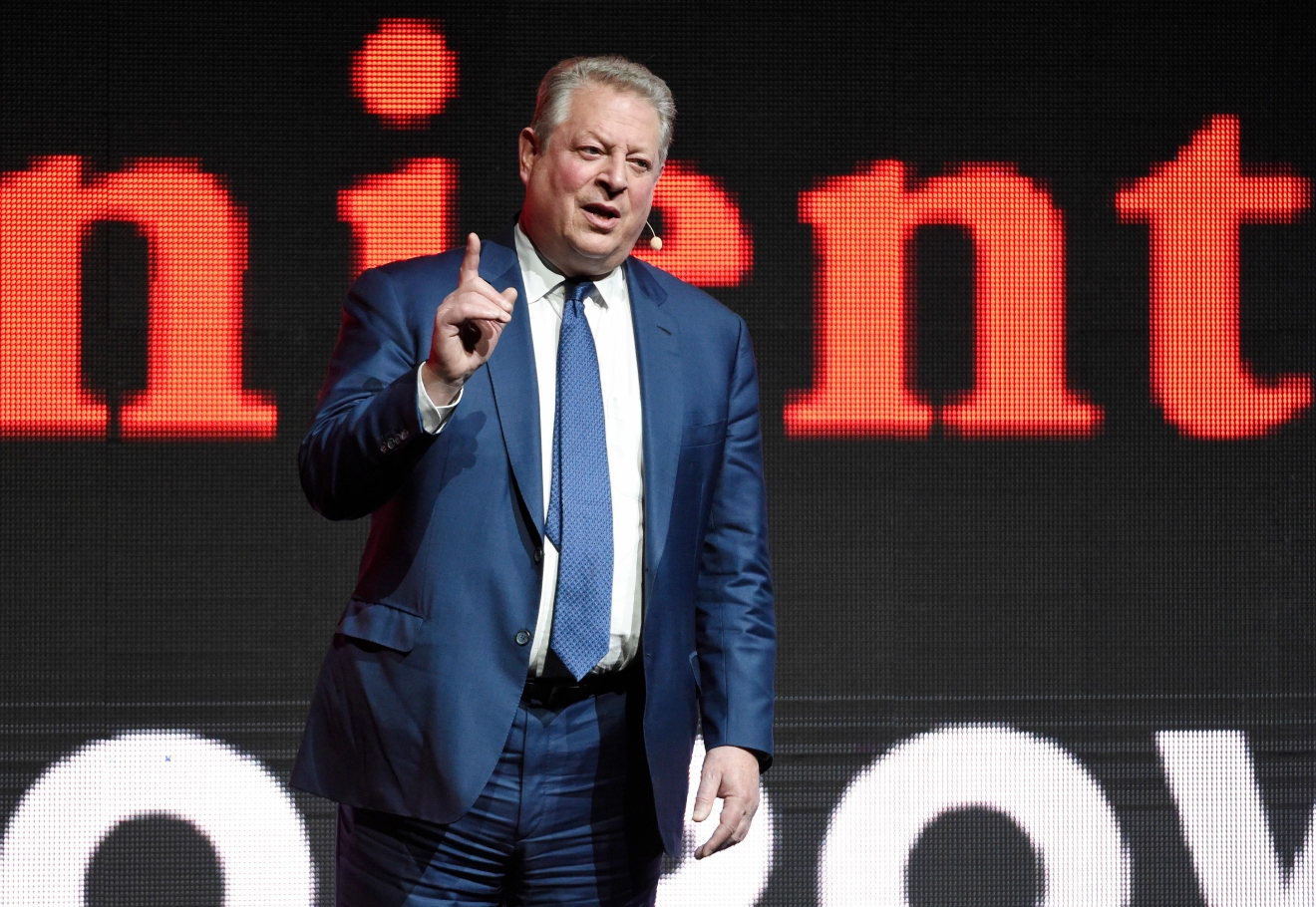 "Former U.S. Vice President Al Gore, star of ""An Inconvenient Sequel: Truth to Power,"" addresses the audience during the Paramount Pictures presentation at CinemaCon 2017 at Caesars Palace on Tuesday, March 28, 2017, in Las Vegas. (Photo by Chris Pizzello/Invision/AP)"