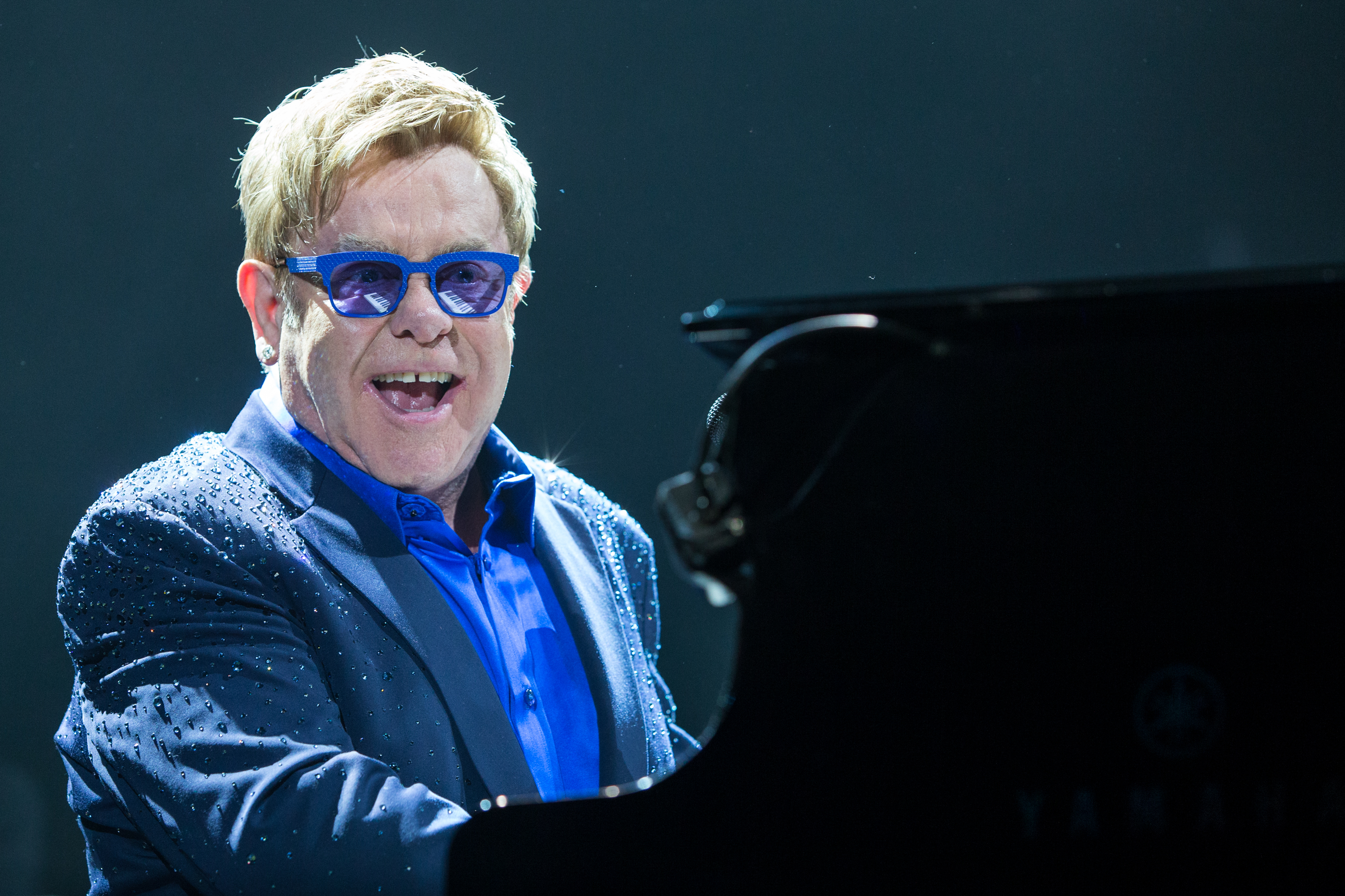 Elton John performs on stage at Staples Center on Saturday, October 4, 2014, in Los Angeles. (Photo by Paul A. Hebert/Invision/AP)