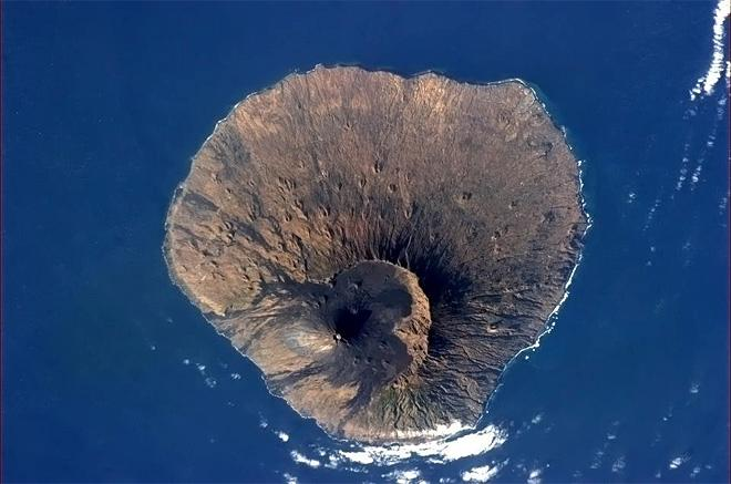 Fogo, a volcano so big it peaks above the Atlantic. Last active 18 years ago. (Photo & Caption: Chris Hadfield/NASA)