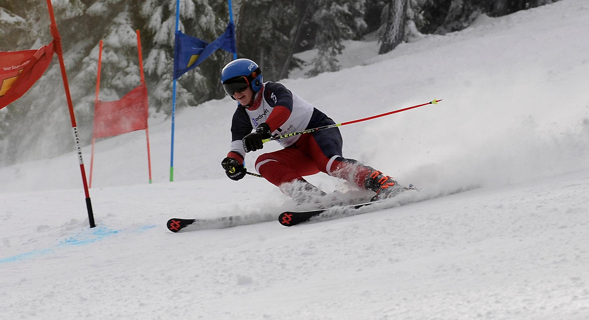 Andy Atkinson / Mail TribuneSt Mary's Lucas Hill makes a turn in his 2nd run of the giant slalom placing 4th in the Southern Oregon Alpine League the event Friday at Mt Ashland.