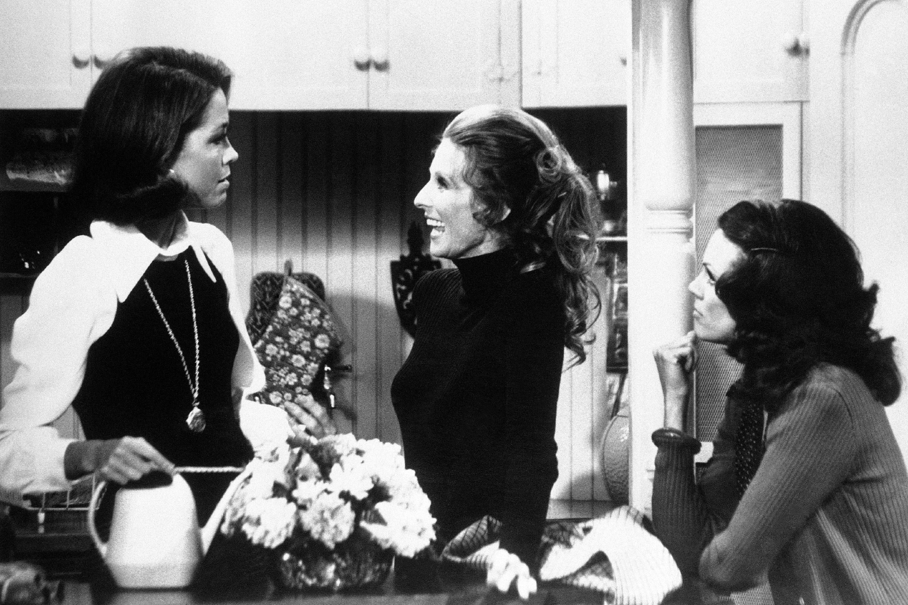 "US actresses Mary Tyler Moore, left, Cloris Leachman, center, and Valerie Harper are not only talented cast members of ""The Mary Tyler Moore Show"", they also contributed to the successful breakthrough of a new style of series in which the old situation comedy hang-ups about women are gone. (AP Photo)"