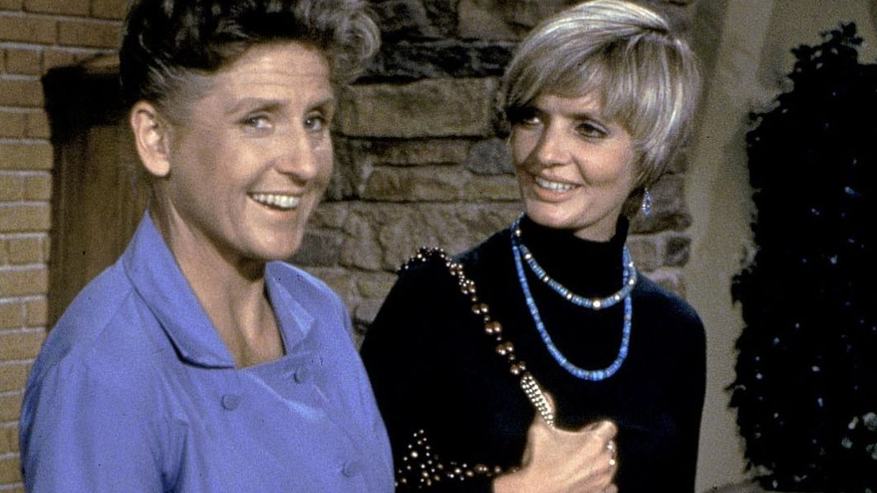 Ann B. Davis (left) and Florence Henderson (right) in an episode of 'The Brady Bunch.', Photo Date: Undated (Cropped Photo: Paramount)