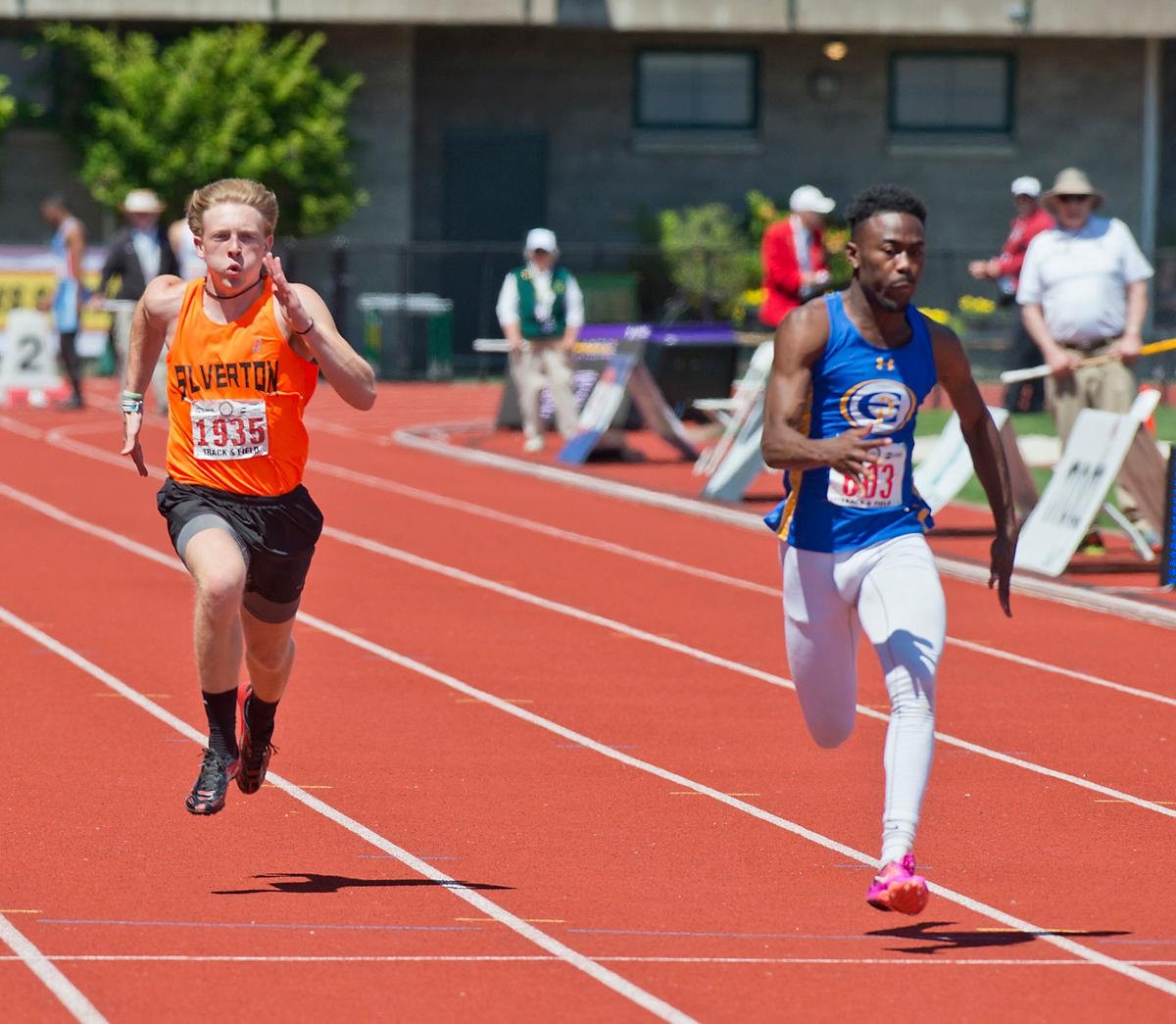 Anthony Gray wins the 5A Boys 100 meter dash with a time of 10.79  at the OSAA Track Championship at Hayward Field Saturday. Photo by Dan Morrison, Oregon News Lab