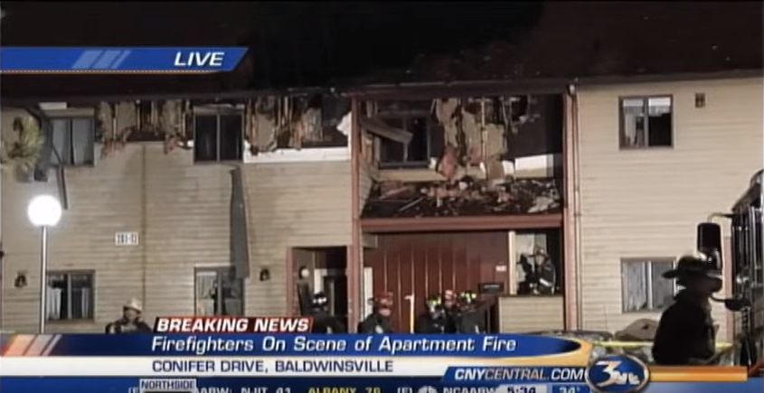 Scene of the fire at Conifer Village apartments where Larry Gillette died Nov. 29, 2012/ CNYCentral