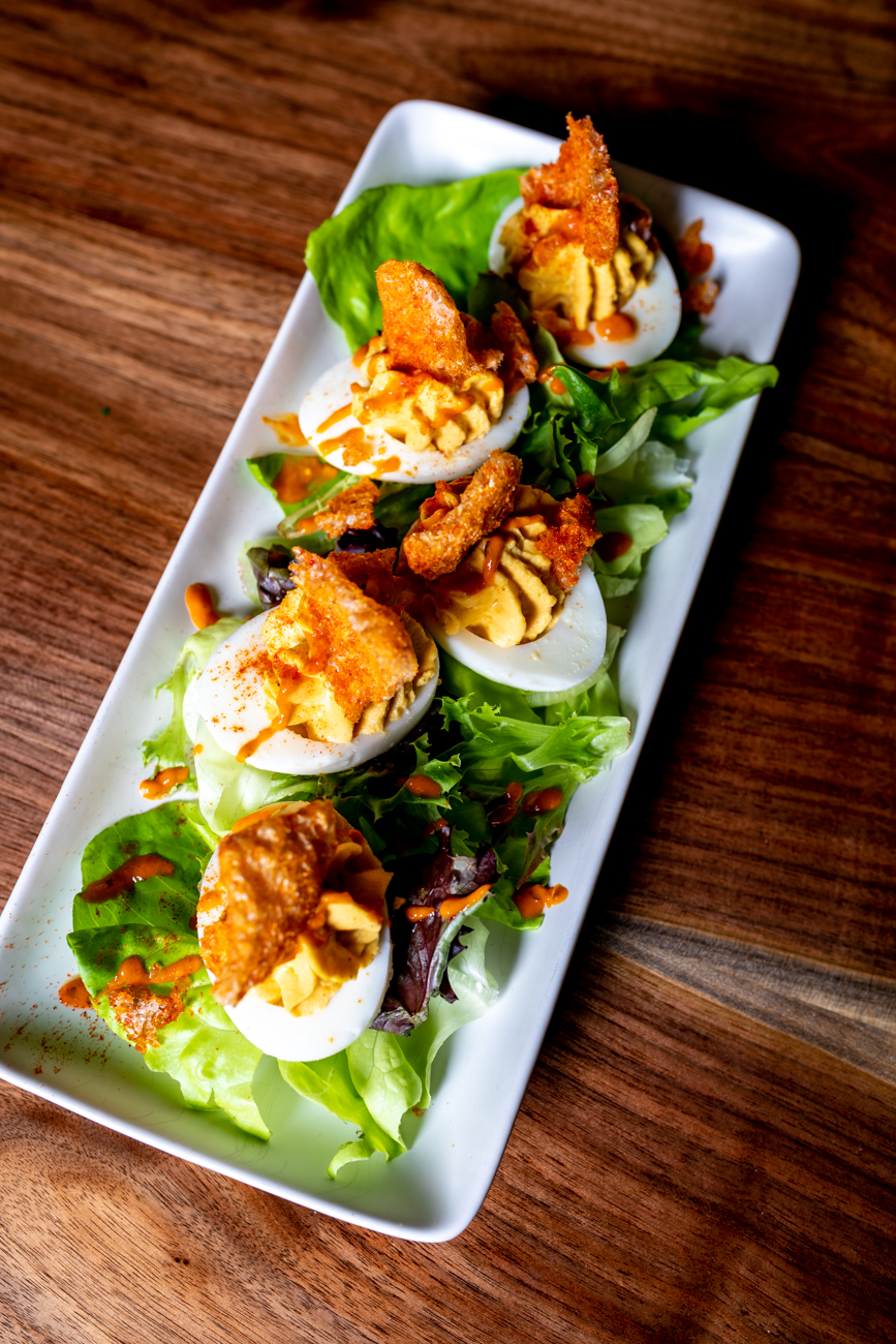 Deviled eggs: house seasoned pork rinds with sherry buffalo sauce / Image: Amy Elisabeth Spasoff // Published: 9.23.18