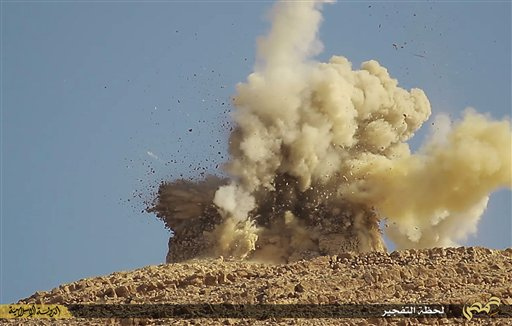 This shows one of two mausoleums exploding, being blown up by the Islamic State militants, in the historic central town of Palmyra, Syria.
