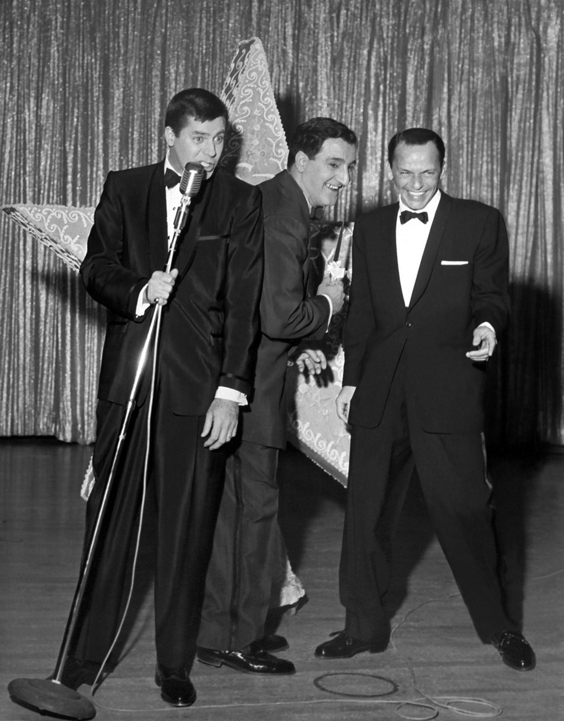 12/15/1956  Sands, 4th anniversary from left, Jerry Lewis, Danny Thomas,  and Frank Sinatra                   Came from job #6243 from Sands 4th anniversary 12/15/1956. CREDIT: Las Vegas News Bureau