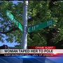 Police: Man taped woman to lamp post at UO