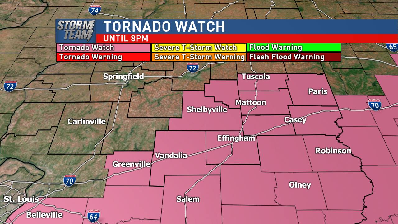 Tornado watch for central Illinois