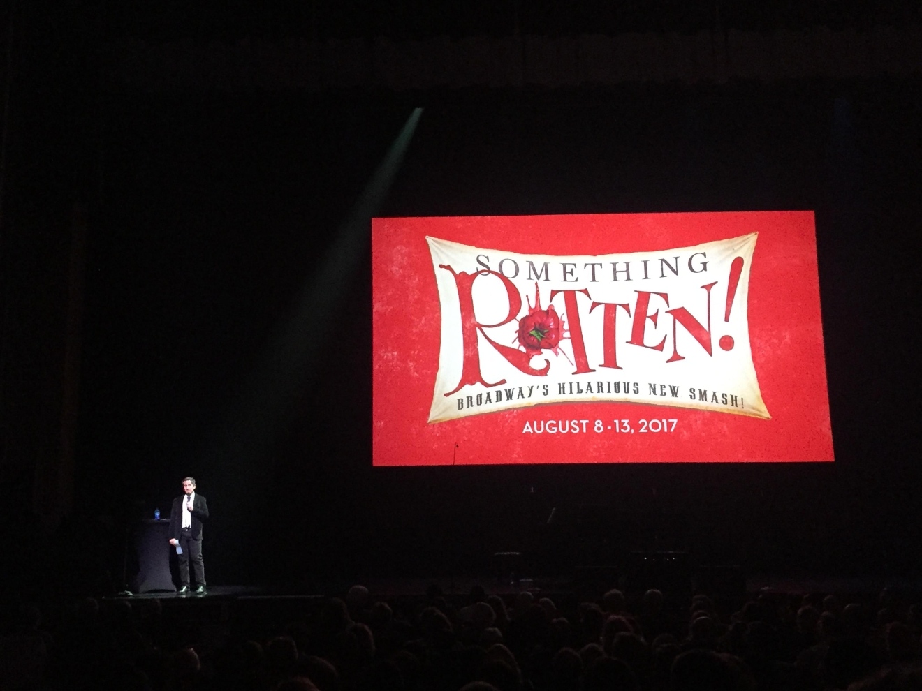 Something Rotten! was revealed as an upcoming tour during the Smith Center for the Performing Arts 2017-2018 Broadway series preview Tuesday, Feb. 28, 2017, in Reynolds Hall. The event's MC Seth Rudetsky had the spotlight on as he introduced the first musical of the 2017-2018 series (Jami Seymore | KSNV)