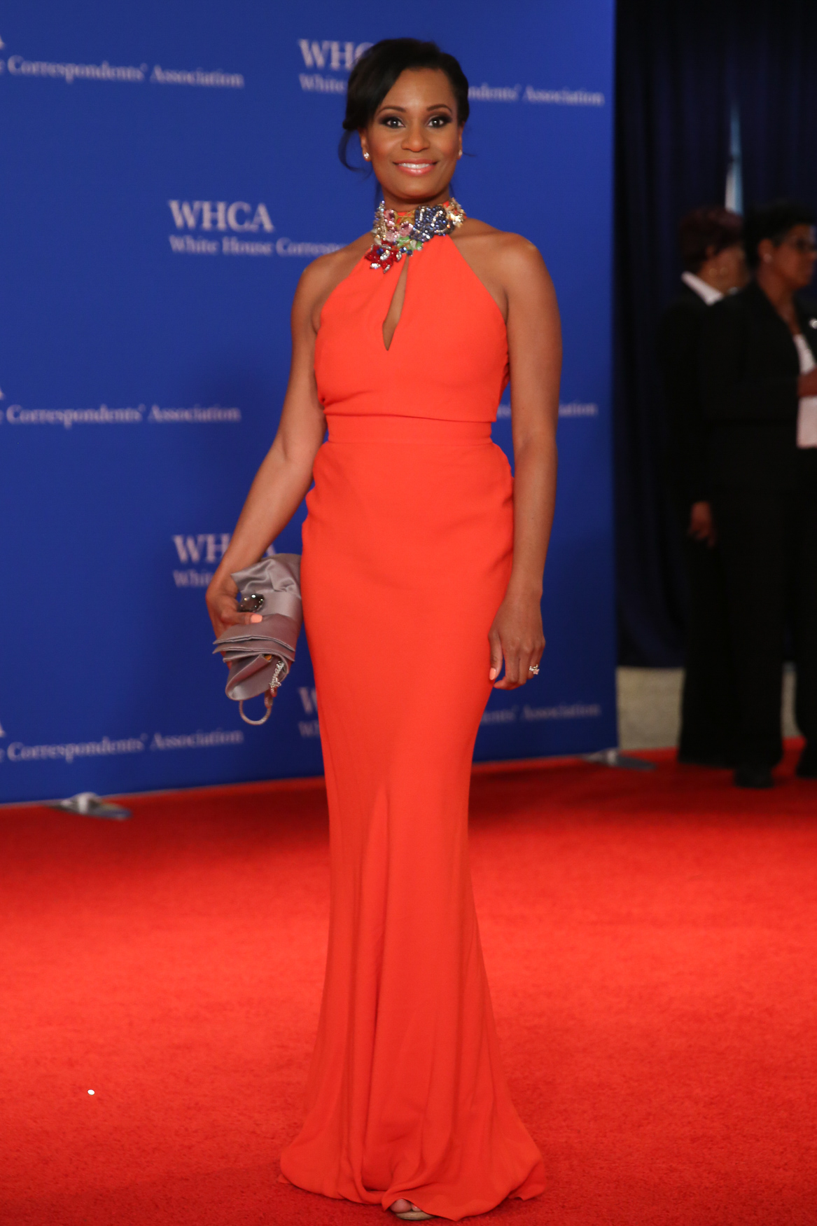 On the red carpet of the White House Correspondents' Dinner, we were super into the way this neckline guides you up to a gorgeous face.{ }(Amanda Andrade-Rhoades/DC Refined)