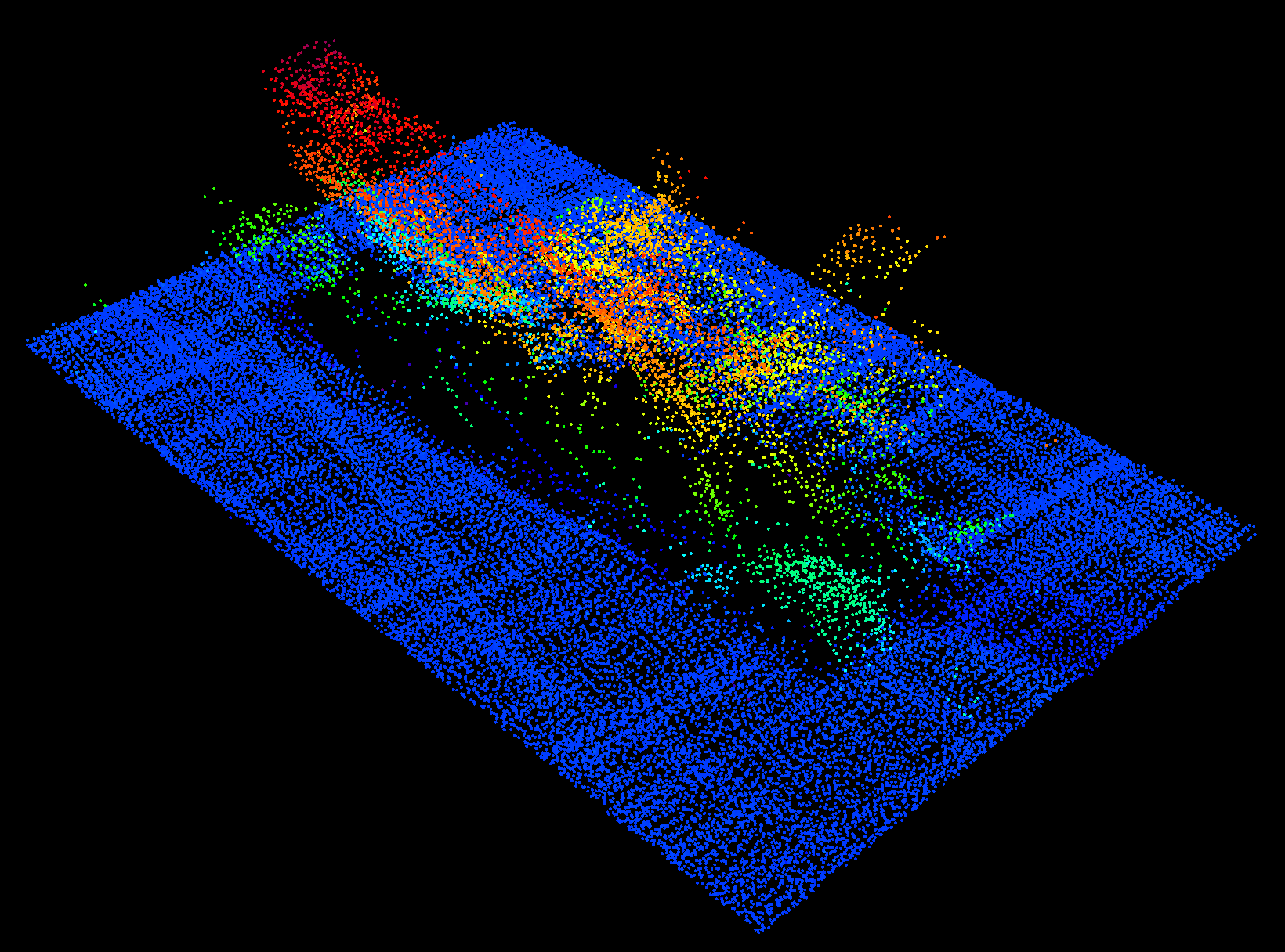 3-D images from the Fairweather's multibeam sonar system. The vessel is resting on its port side on the seafloor, the skeg and rudder can be seen in light green below the starboard quarter on the left of this image. (NOAA image)