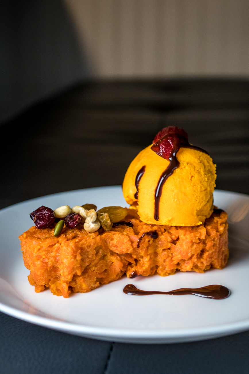 Gajar halwa with ice cream: a carrot based sweet dessert pudding served with house-flavored ice cream / Image: Catherine Viox{ }// Published: 2.6.20