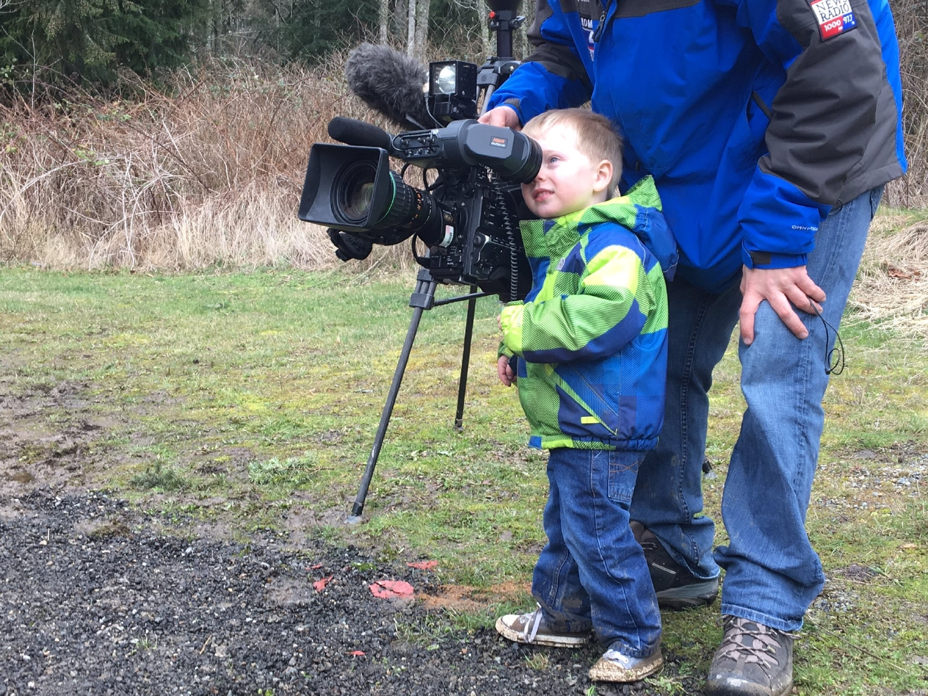 Wyatt has many skills: he coasts & now is a photojournalist-in-training! (Photo: KOMO News)