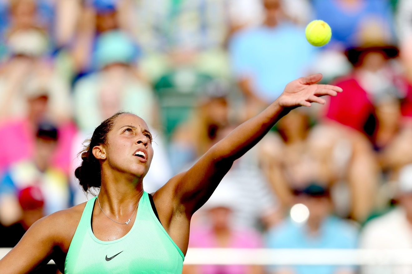 KEY BISCAYNE, FL - MARCH 24:  Madison Keys serves to Viktorija Golubic of Switzlerland during the Miami Open at the Crandon Park Tennis Center on March 24, 2017 in Key Biscayne, Florida.  (Photo by Matthew Stockman/Getty Images)