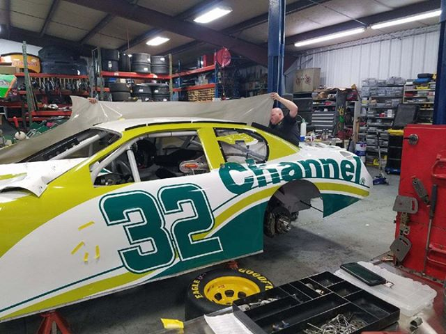 The car Bob will be racing Friday being prepped in North Carolina/ Photo courtesy Vicky Neelie
