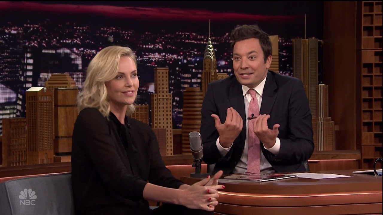 "Charlize Theron during an appearance on NBC's 'The Tonight Show Starring Jimmy Fallon.' Charlize promotes the movie 'Atomic Blonde.' Charlize Theron and Jimmy take turns using the dance move generator to make up random dances on the spot, like the ""Tennis Pro"" and the ""Double Kayak.""  Featuring: Charlize Theron Where: United States When: 21 Jul 2017 Credit: Supplied by WENN.com"