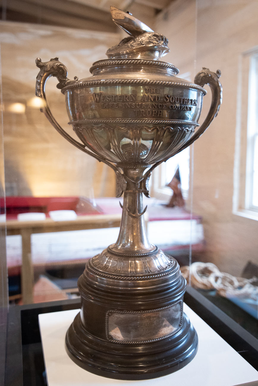 An old racing trophy from the Western and Southern Life Insurance Company based out of Cincinnati. Note the stylized racing boat riding the wave on the top of the cup. / Image: Phil Armstrong, Cincinnati Refined // Published: 1.7.20