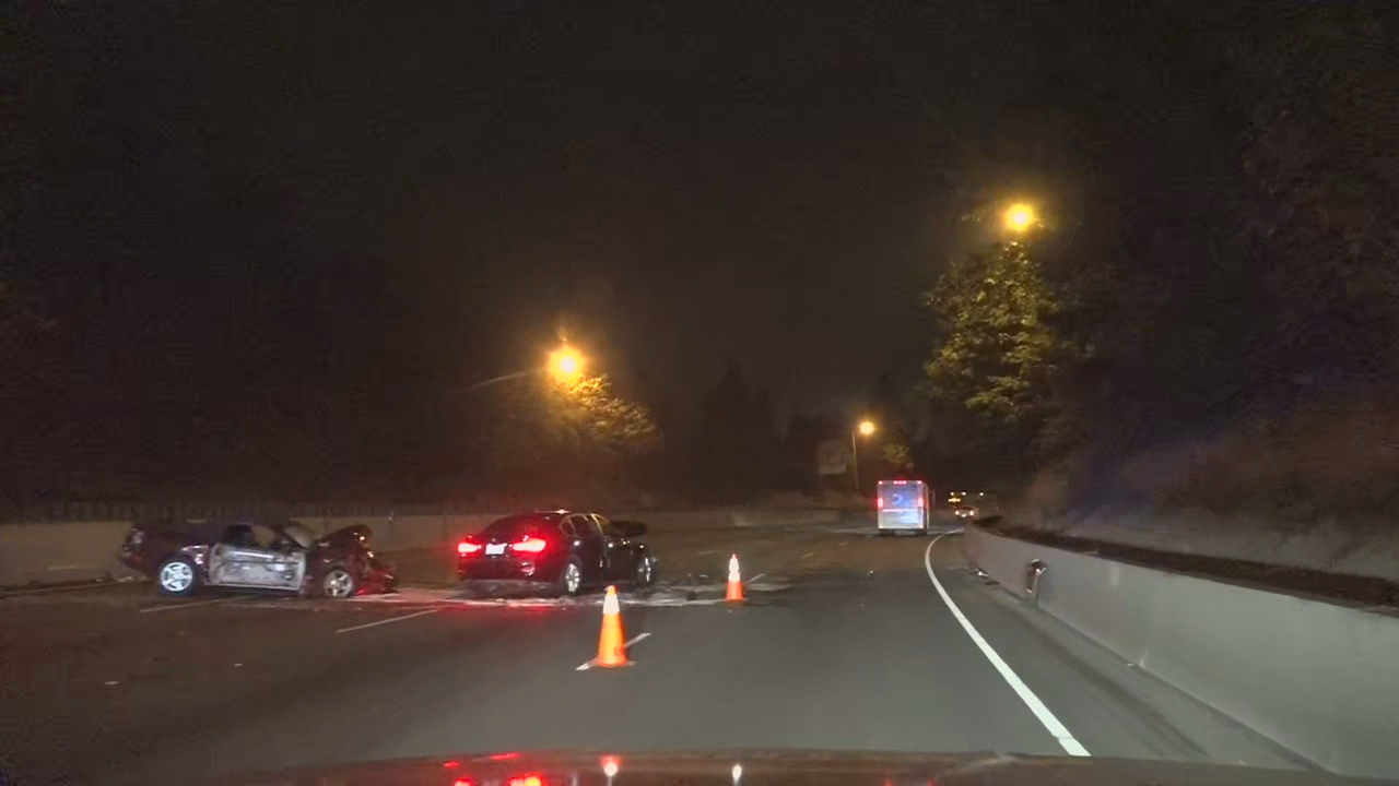 Police say one person was killed and another was injured in a three-vehicle, head-on crash on I-5 northbound in Portland on September 22, 2020. KATU photo{ }