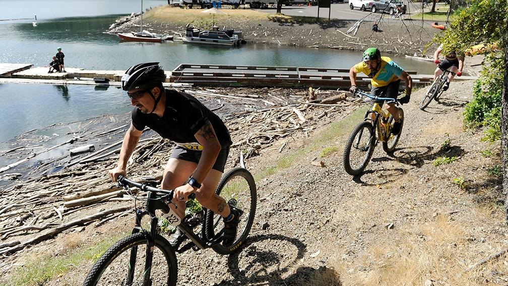 Competitors head out on the Mt Bikes during the Granite Man Mt Duathlon Saturday at Applegate Lake.