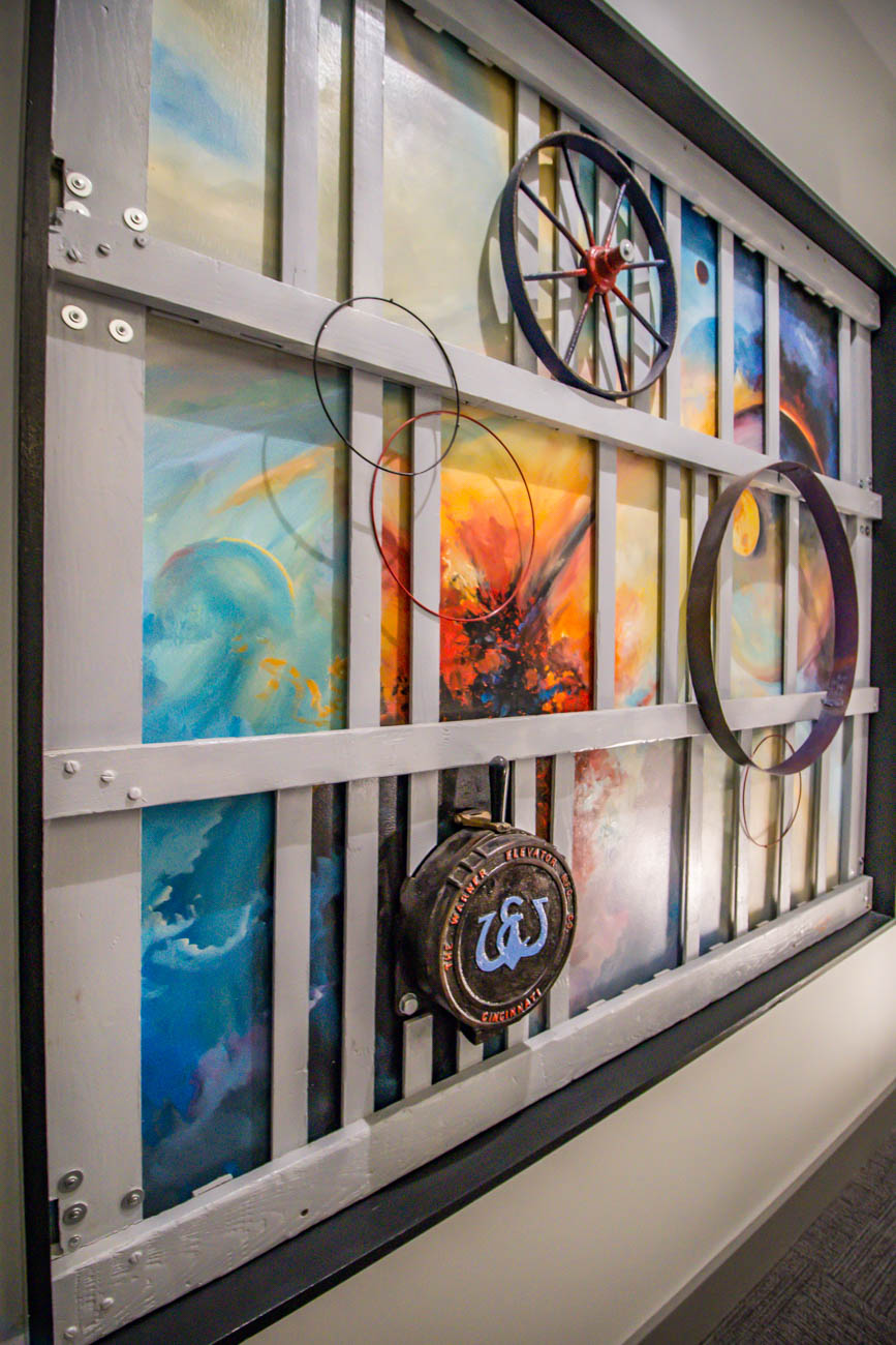 <p>An art installation in the Newberry Lofts by artist J. Lewis / Image: Katie Robinson, Cincinnati Refined // Published: 3.11.20</p>
