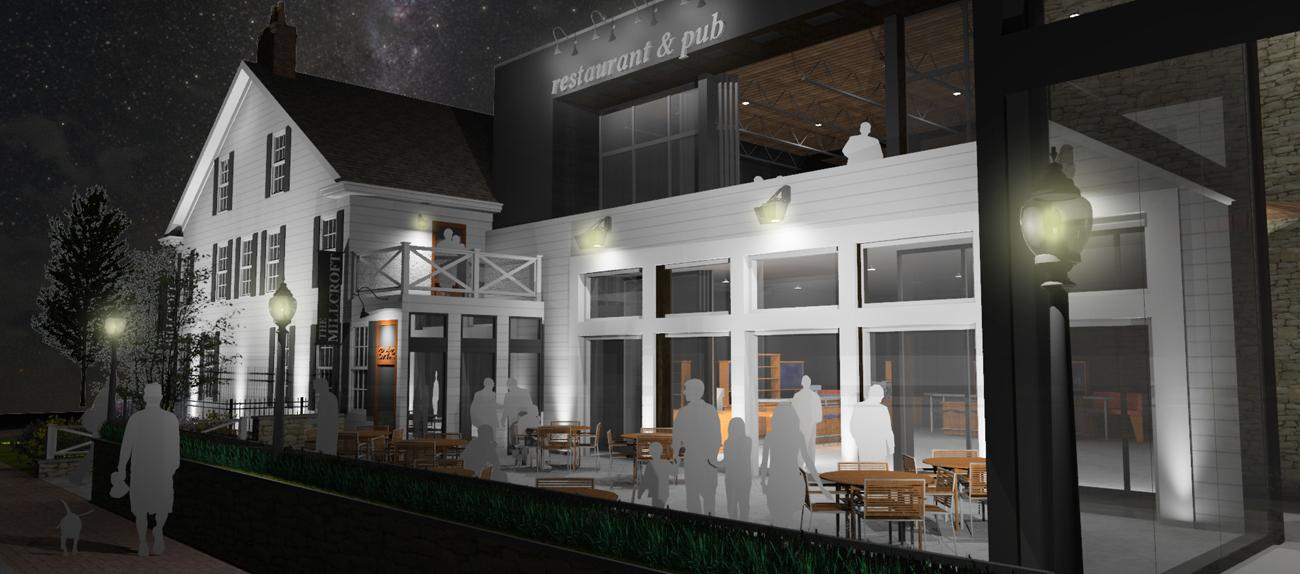 A rendering shows the plans for converting the Millcroft Inn into a dedicated distillery for March First's Sycamore Whiskey brand. / Image courtesy of March First Brewing & Distilling // Published: 8.4.19