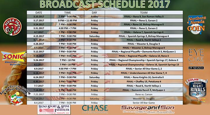 Friday Night Rivals - Baseball/Softball Broadcast Schedule and Updated Scores as of July 14, 2017.