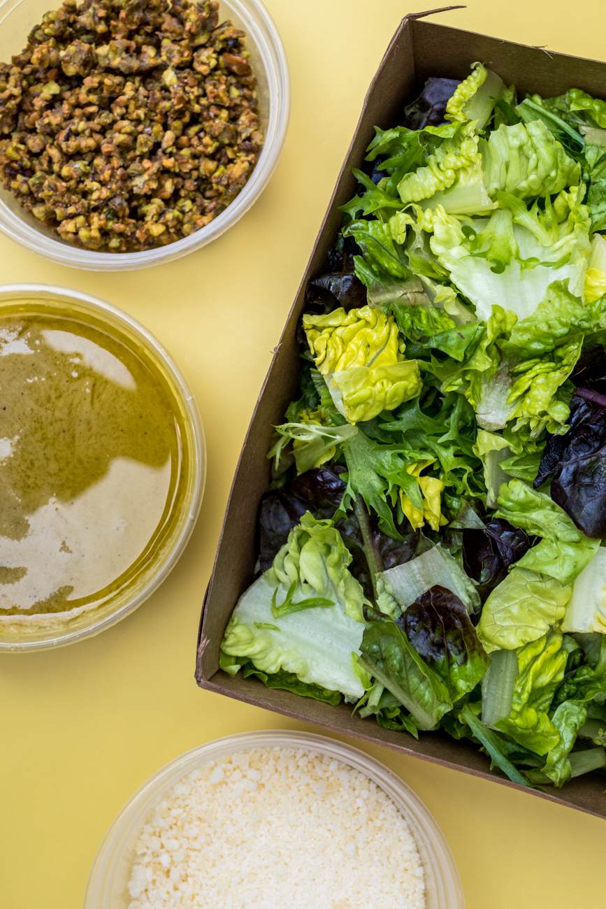 Artisan lettuces, roasted shoot vinaigrette, and candied pistachios  / Image: Catherine Viox{ }// Published: 2.13.21