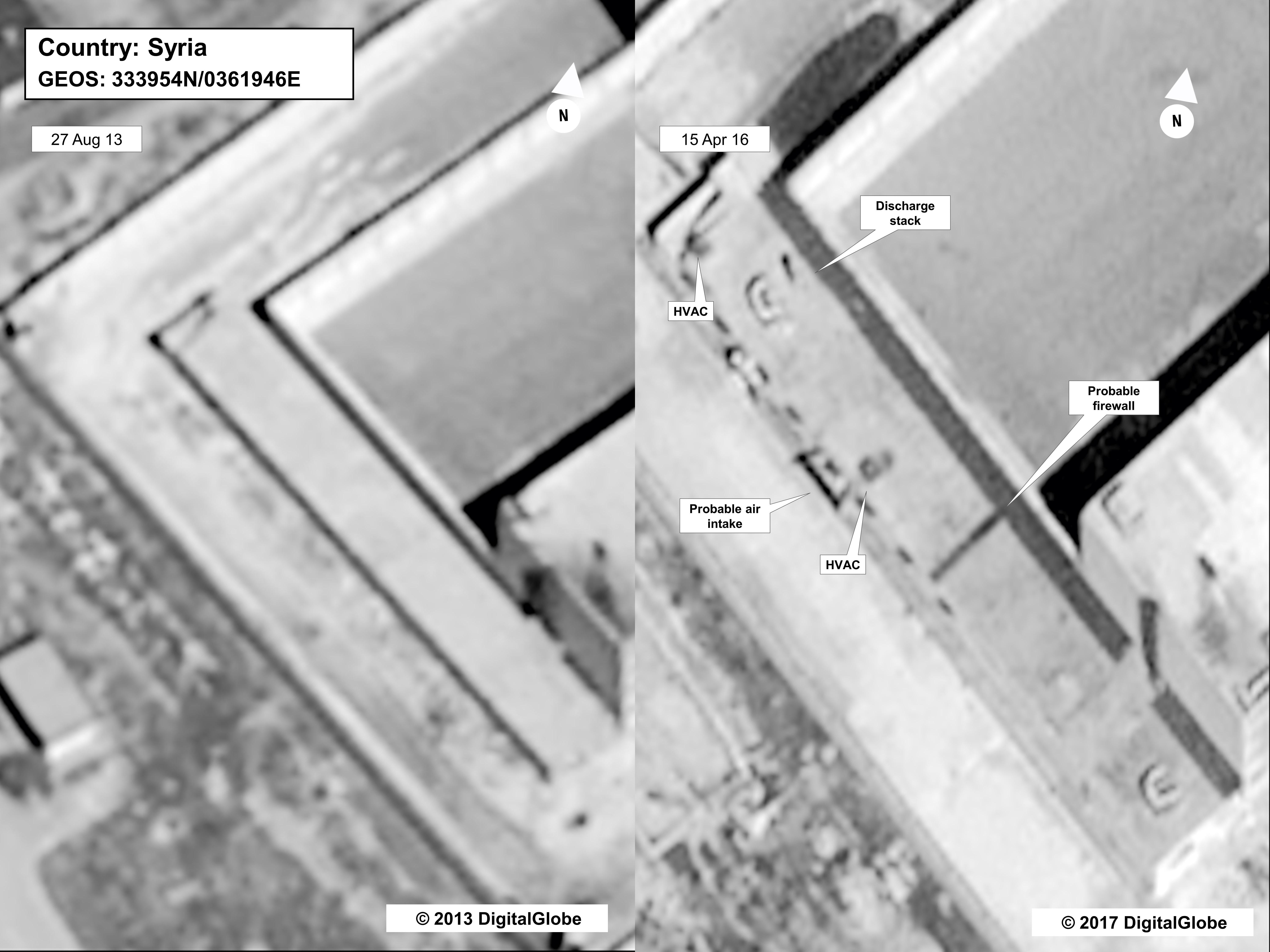 This image provided by the State Department and DigitalGlobe, taken Aug.18, 2013, a satellite image of what the State Department described as a building in a prison complex in Syria that was modified to support a crematorium. The Trump administration accused the Syrian government of carrying out mass killings of thousands of prisoners and burning the dead bodies in a large crematorium outside the capital. It also stepped up criticism of Iran and Russia for supporting the Syrian government. (State Department/DigitalGlobe via AP)