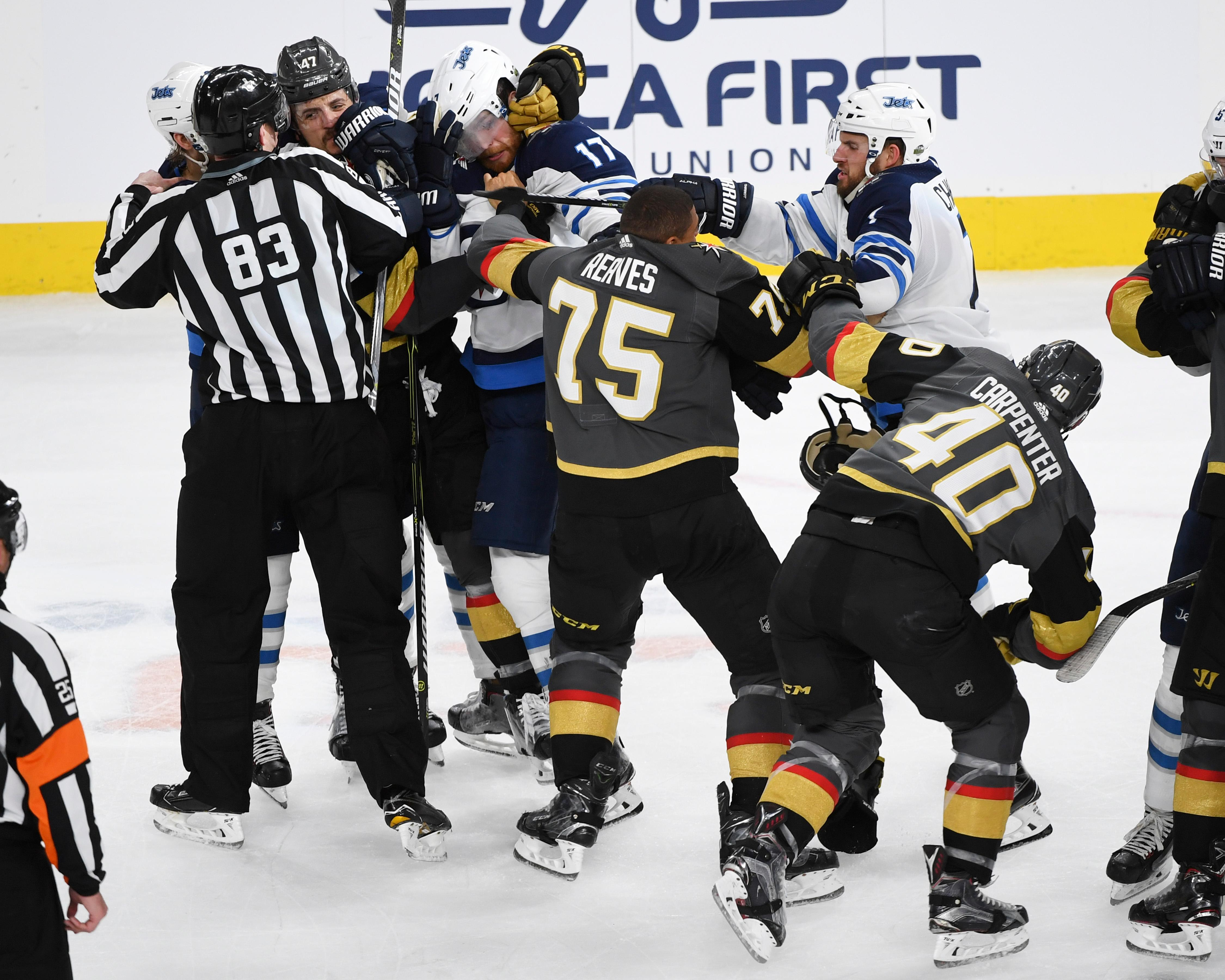 Vegas Golden Knights and Winnipeg Jets scuffle at the end of Game 3 of their NHL hockey Western Conference Final game Wednesday, May 16, 2018, at T-Mobile Arena. The Golden Knights won 4-2 to take a 2-1 lead in the series. CREDIT: Sam Morris/Las Vegas News Bureau