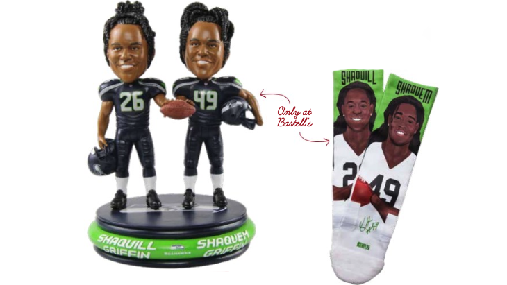 Pick up a Shaquille and Shaqueem Griffin bobblehead or a pair of socks to show your team spirit.