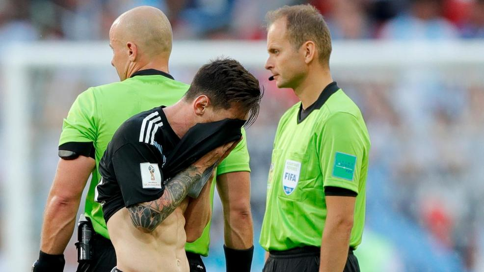 Argentina s Lionel Messi covers his face at the end of the group D match  between Argentina and Iceland at the 2018 soccer World Cup in the Spartak  Stadium ... 8f3bf902c4134