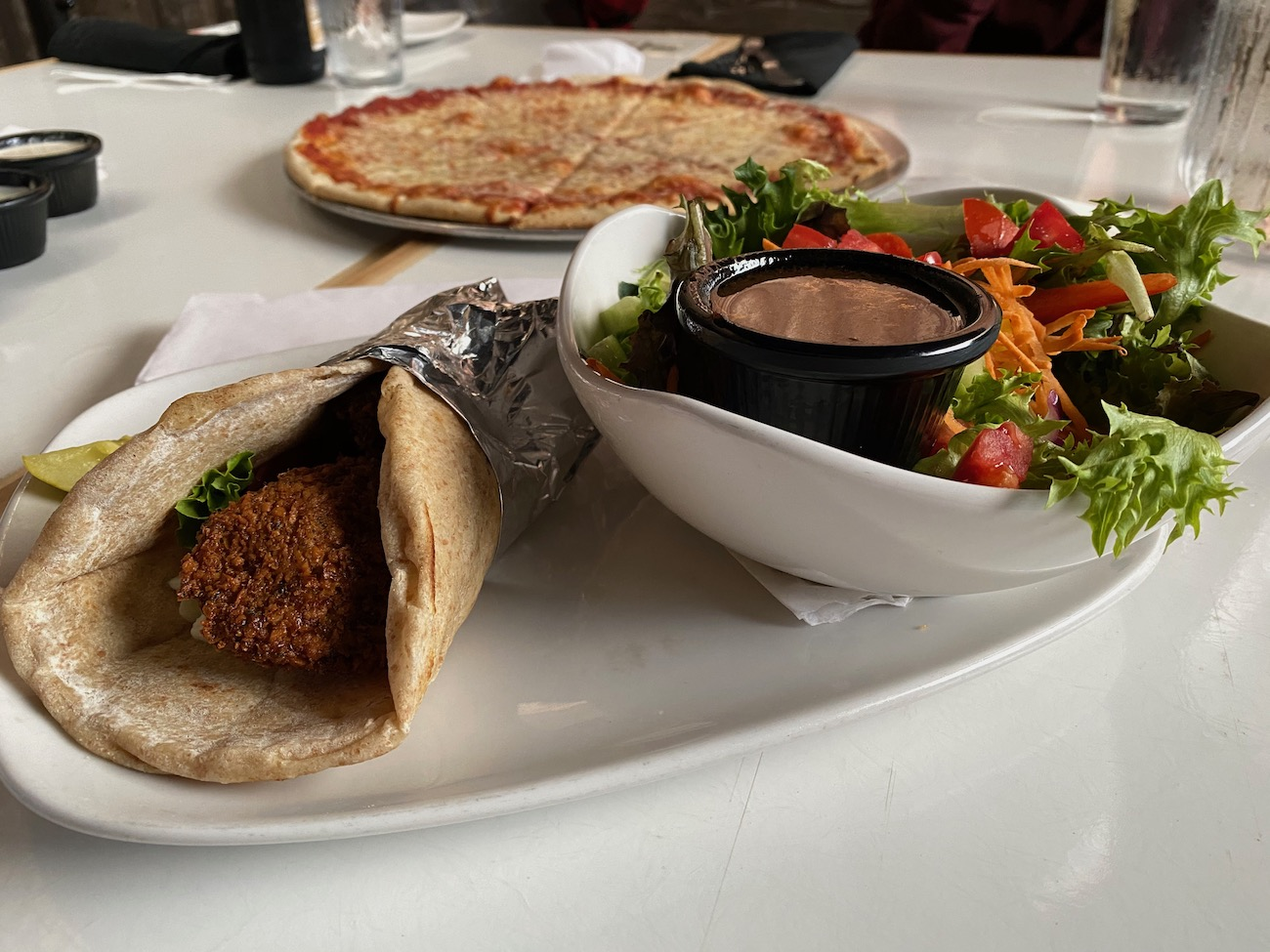 A falafel sandwich at Jackie O's Brewery / Image: Chez Chesak{ }// Published: 10.27.20