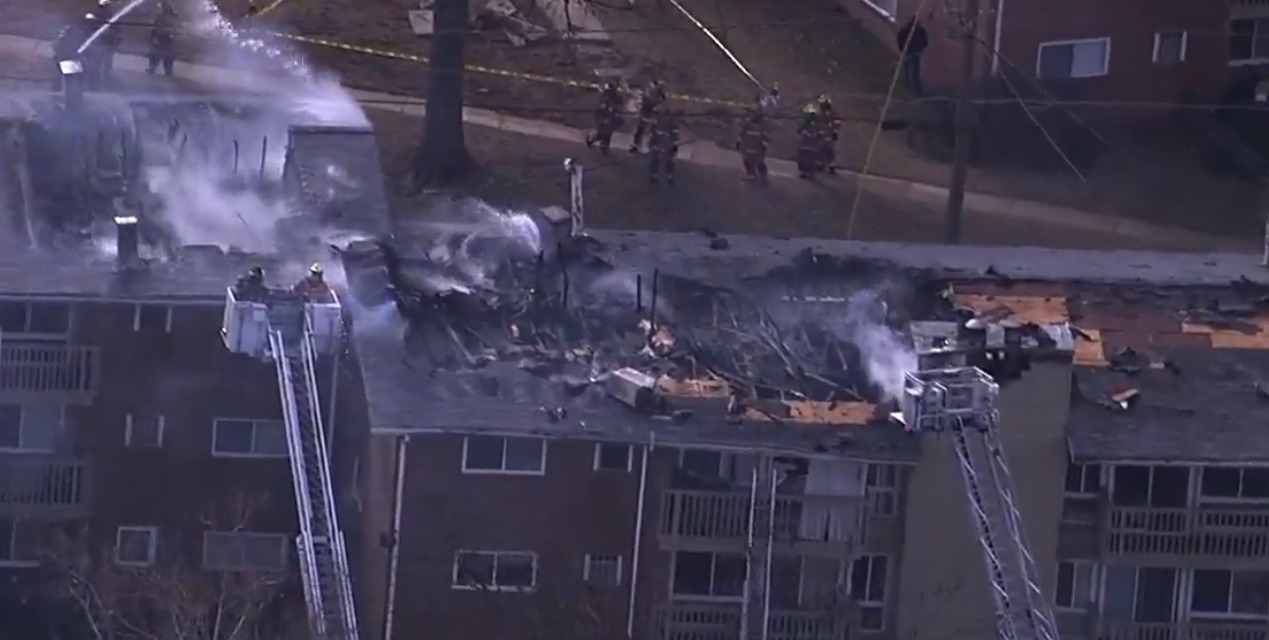 Three-alarm fire reported at Rockville apartment building. (Photo: SkyTrak7)