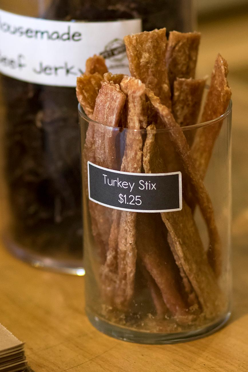 <p>Many of the Pet Wants treats, like these turkey sticks, are made at the Vine Street location. / Image: Allison McAdams // Published: 1.24.19 </p>