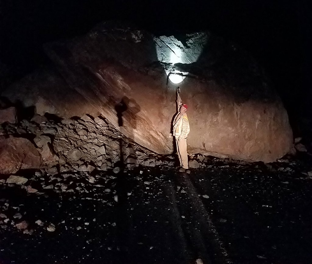 A 12-foot tall, 200-ton rock fell on Highway 138E just after midnight Thursday, blocking the road 10 miles east of Glide on the Rogue-Umpqua Scenic Byway. (Via ODOT)